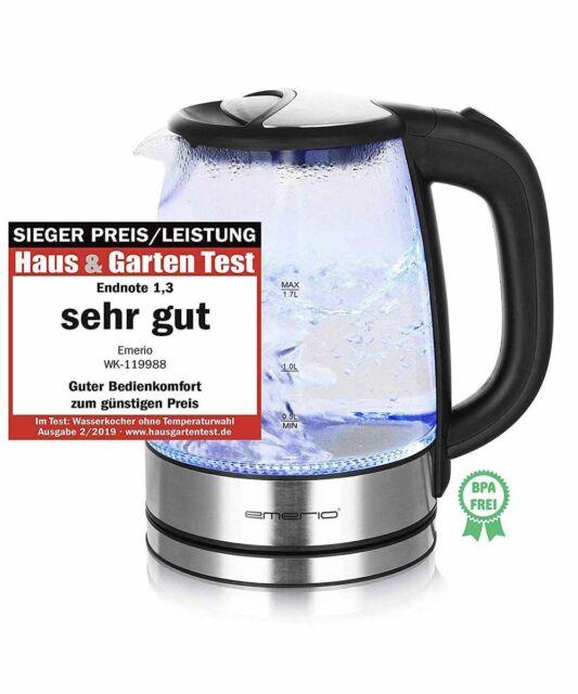 Glas Edelstahl Wasserkocher 1,7 Liter 2200W kabellos LED Beleuchtung blau neu