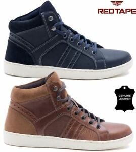 mens red tape leather flat lace up hi tops ankle boots