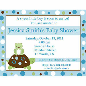 20 Personalized Baby Shower Invitations Yellow and Green Turtle and Frog