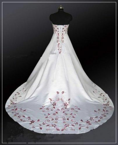 New White/Red Wedding Dress/ Bride Gown Stock Size* 6 8 10 12 14 16