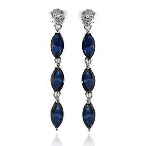 De-Buman-Sterling-Silver-2-95ctw-Blue-Sapphire-amp-White-Diamond-Earrings-for-Gift
