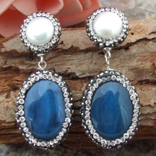 AB030813 White Pearl BlueAgateEarring-Silver Stud