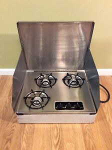 Rv Propane Stove >> Details About Atwood Wedgewood 3 Burner Lp Propane Rv Camper Stove Hunting Camp Portable