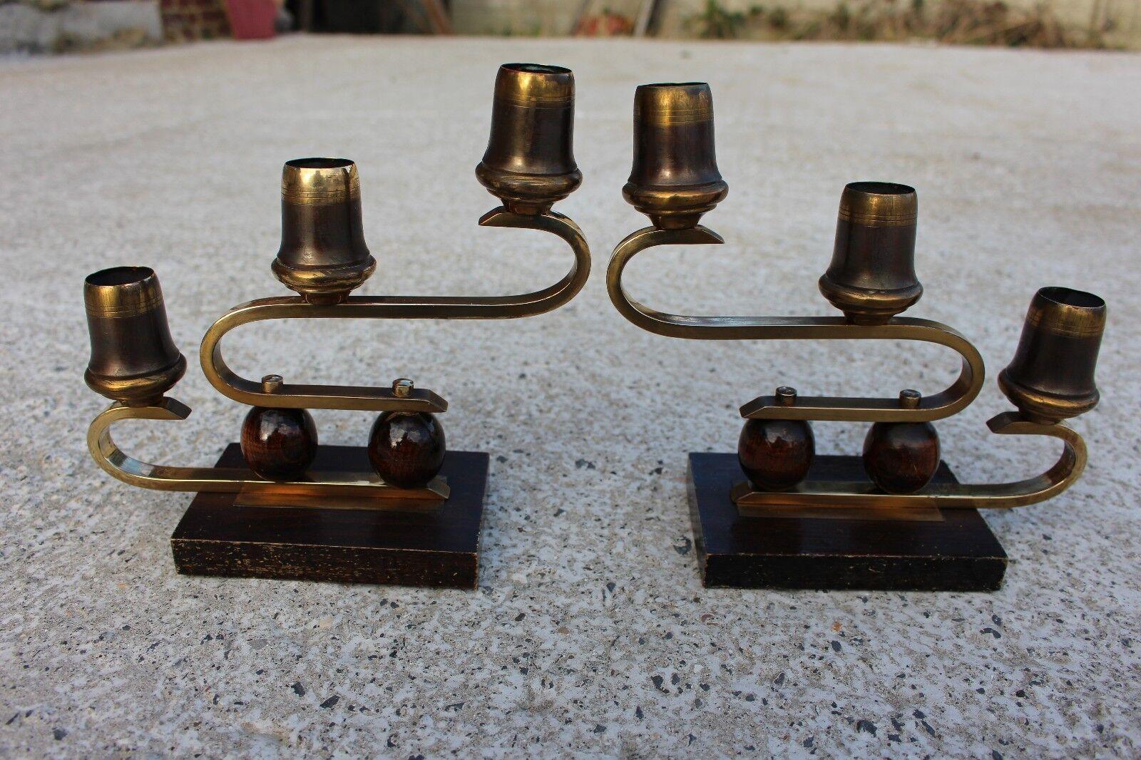 Couple Pair Wooden Candle Holders Modernist Bauhaus Era