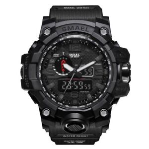 Men's Sports Watch Big Pu Led Digital Alarm Waterproof Quartz Wristwatches Round