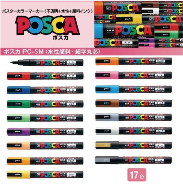 Uni POSCA MARKER  PEN PC-5M 1.8-2.5mm ART 17 Colors