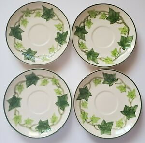 """Franciscan Green Ivy Saucers Set of Four (4) 6 1/4"""" Made in California"""