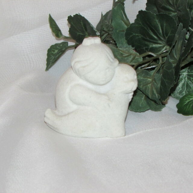 MARBELL BELGIUM STONE ART SCULPTURE CHILD WITH SEAL STATUE FIGURINE collectible