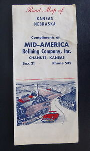 Chanute Kansas Map.1959 Kansas Nebraska Road Map Mid America Refining Co Chanute Ks