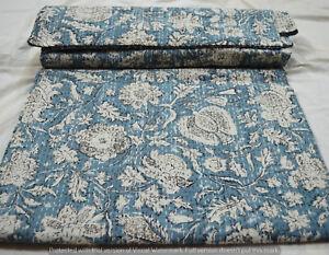 Quilt-Kantha-Koenigin-Bettdecke-Hand-Block-Print-Tagesdecke-Baumwolle-indische
