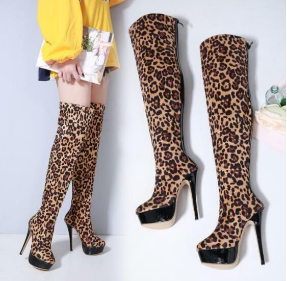 Womens Platform Knee High Boots Leopard Pattern Oxford Platform Knight shoes