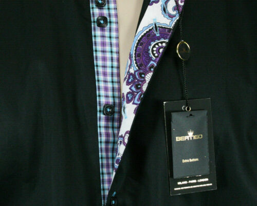 BERTIGO TERRY//18 Men/'s woven Dress Shirt Black Teal purple gingham plaid lined