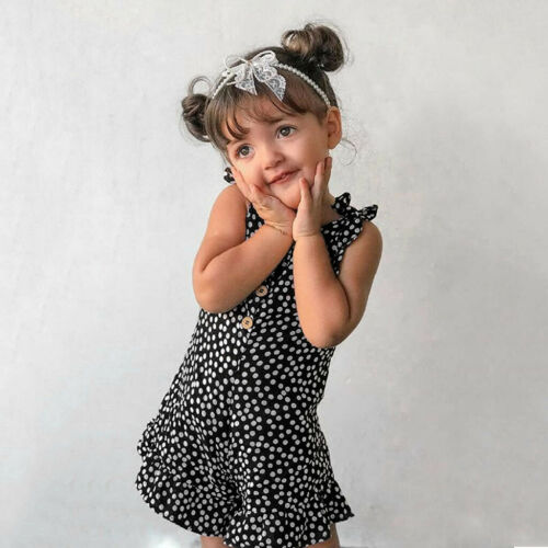 Toddler Baby Kids Girls Polka Dot Suspenders Romper Jumpsuits Outfits Clothes