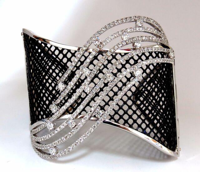 4.30ct Diamonds Bangle Cuff Bracelet 18kt Fish Net Grill Blackened Spring Hinge