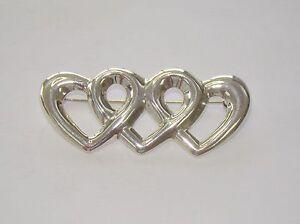 "Item# Q912 8.97 Grams Signed Su 2 5/8"" Sterling Silver Triple Heart Brooch"