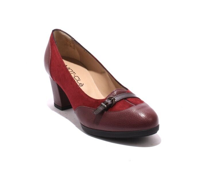 MOT-CLe 6542 Burgundy Suede Leather   Patent Buckle Heel Pumps 39.5   US 9.5
