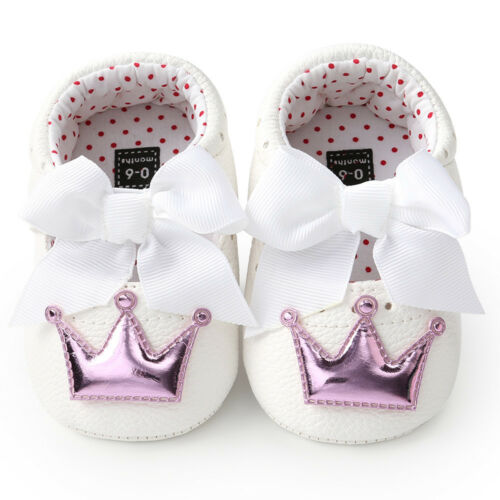 New Newborn Toddler Baby Girls Crown Princess Shoes Soft Sole Anti-slip Sneakers