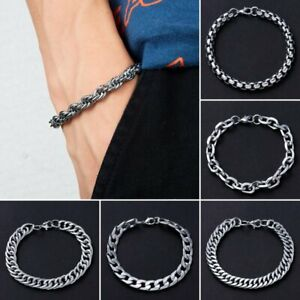 Fashion-Silver-Men-039-s-Punk-Stainless-Steel-Chain-Link-Bracelet-Bangle-Jewelry-HOT