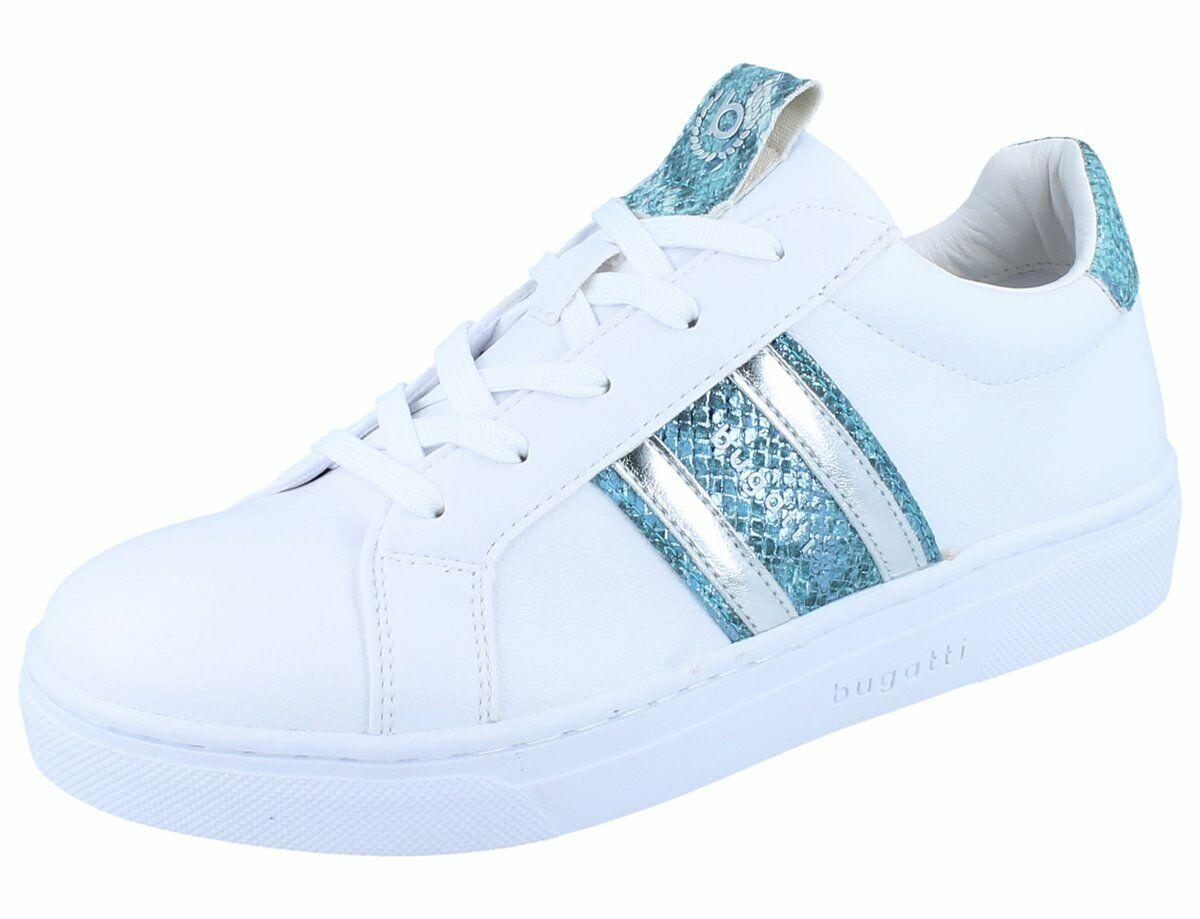 BUGATT Elea Damen Halbschuhe Turnschuhe Schnürschuhe Weiß light Blau