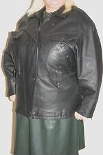C&A Womens Black REAL LEATHER BIKER JACKET uk18 eu46 us14/16 Chest c48ins c122cm