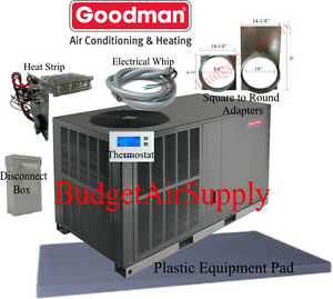 Details about 4 Ton 14 seer Goodman HEAT PUMP Package Unit  GPH1448H41+tstat+ INSTALL KIT