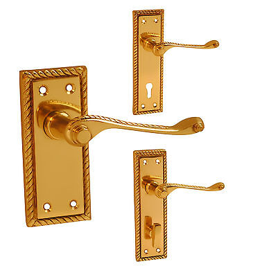 Polished Brass Georgian Door Handle Sets Lever LOCK LATCH PRIVACY or BATHROOM