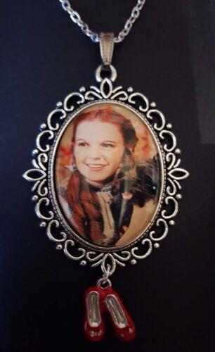 Wizard oz Dorothy Toto Rubí Zapatillas de casa Collar Colgante Plata Grande Judy