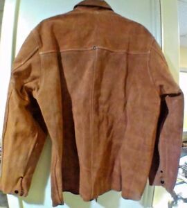 5290752f3 Details about 60-1-126 M Welding Jacket Split Cowhide Brown Kevlar Sewn  Welders Jacket