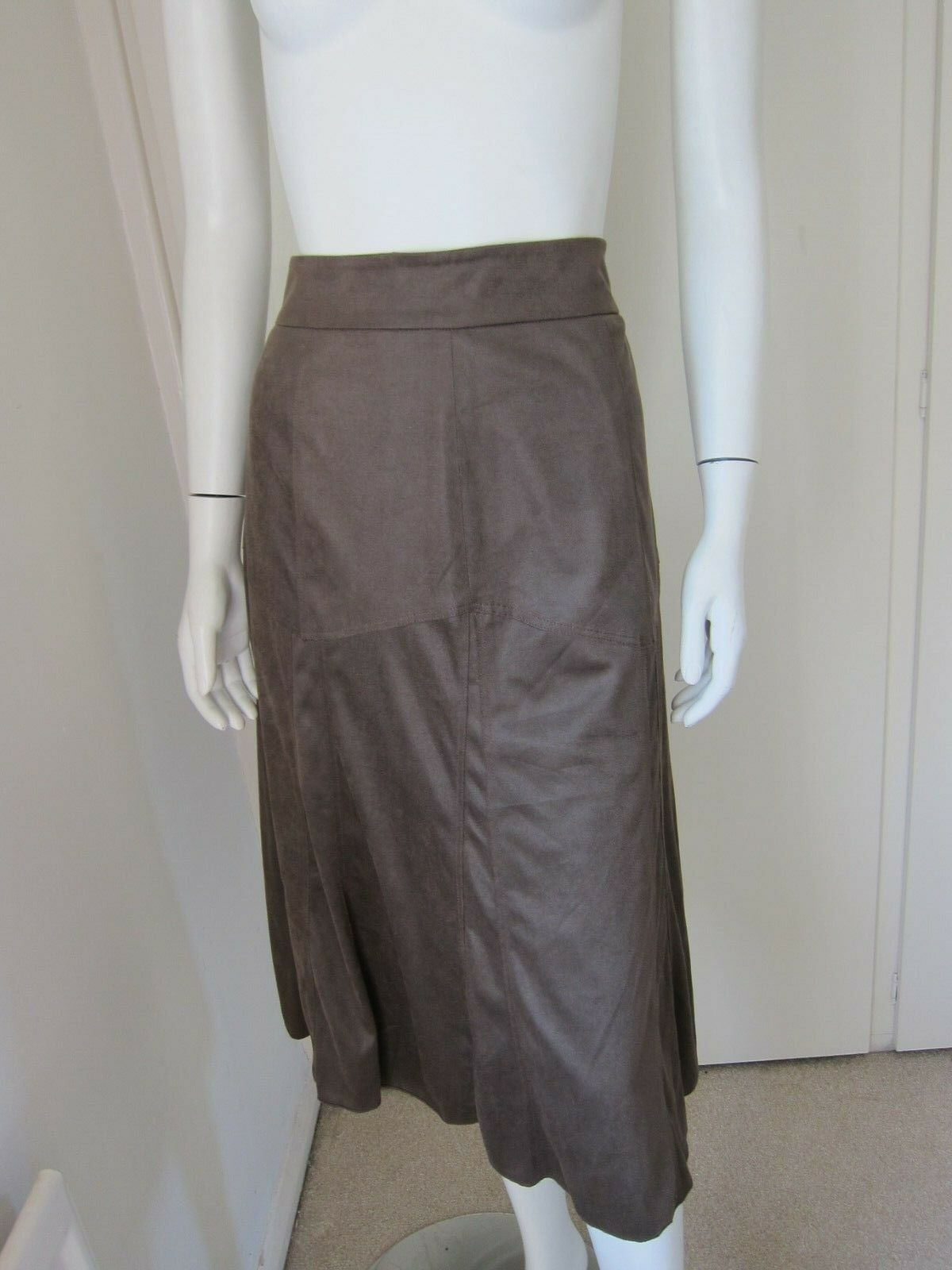 Edition OSCAR B Size 8 Brown Suede Feel Panelled Lined Calf Length SKIRT .50
