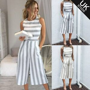 6d99a40b8ff Image is loading Ladies-Women-Summer-Striped-Jumpsuit-Sleeveless-Clubwear- Wide-