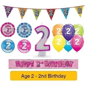 Image Is Loading Happy 2nd Birthday AGE 2 Party Balloons Banners