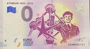BILLET-0-EURO-ATOMIUM-1958-2018-BELGIQUE-2018-NUMERO-101