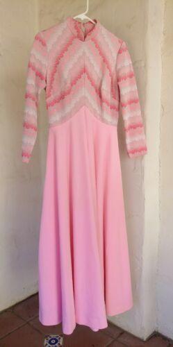 AMAZING!! VTG 60s 70s Glam Goddess Maxi Dress Pink