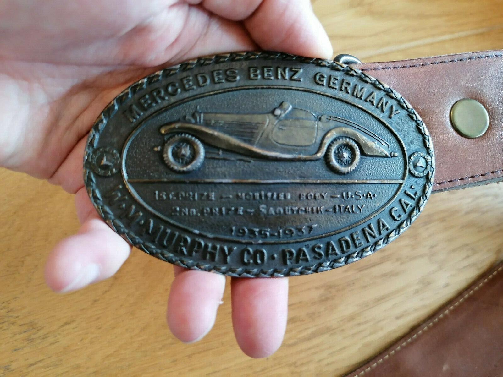 Alter Ledergürtel mit Mercedes Benz Germany Gürtelschnalle