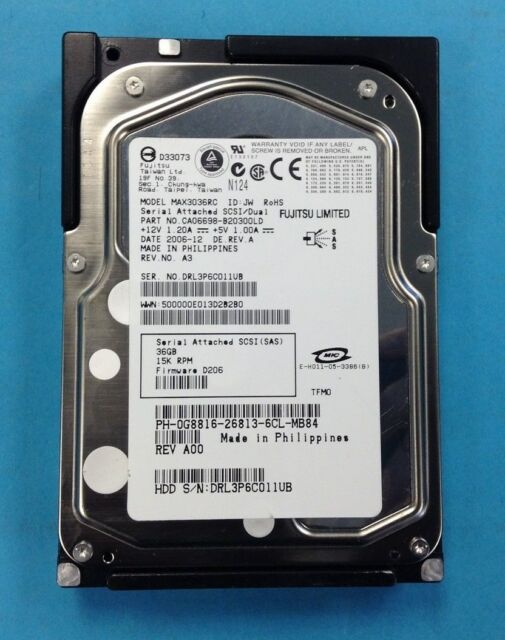 "Dell G8816 | Dell 36GB SAS 15K 3GBPS 3.5"" Hard Drive MAX3036RC CA06697-B10300DL"