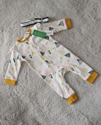 Baby Girls ORGANIC COTTON Romper Babygrow /& Headband Set Geo MINOTI 6-9 Months