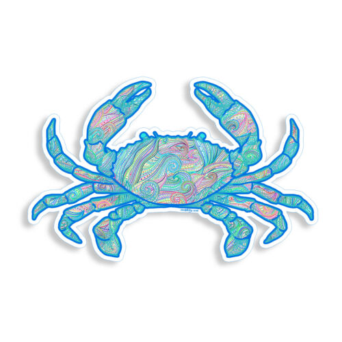 Beach Ocean Wave Crab Sticker Cup Cooler Laptop Boat Car Window Bumper Decal