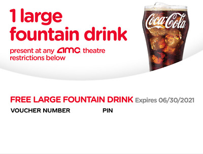 Best Free Email 2021 10xAMC Large Fountain Drink Beverage expired 06/2021 Instant