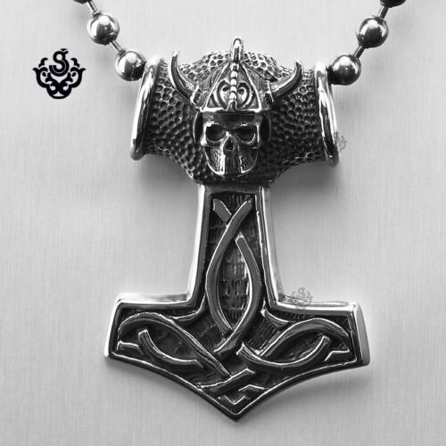 Silver Thor/'s Hammer pendant stainless steel warriors skull ball chain necklace