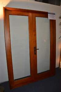 FRENCH-DOORS-SOLID-CEDAR-TIMBER-1570W-x-2100H-STAINED-amp-OILED-HUNG-IN-STOCK
