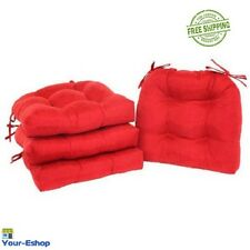 Set Of 4 Chair Cushion Pads Seat Patio Outdoor Garden Dining Pillow Pad , Red