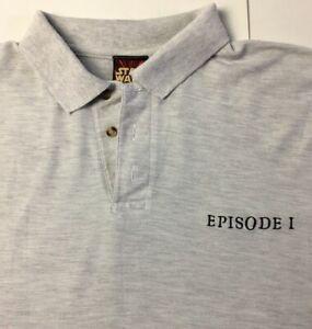 Star-Wars-Original-Vintage-1999-Episode-I-XL-Mens-Grey-Polo-Embroidered-T-Shirt