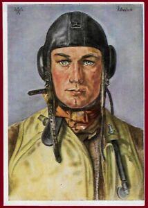 German WW 2 Third Reich postcard Unsere Luftwaffe - German fighter pilot
