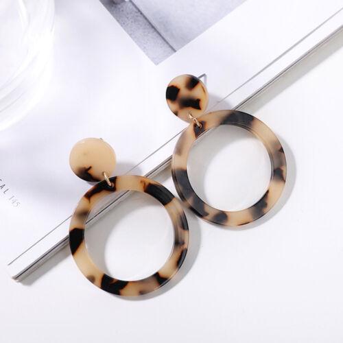 Fashion Leopard Boucle d/'oreille Exagérée Géométrique Rond acétate Acrylique Goutte Boucle d/'oreille
