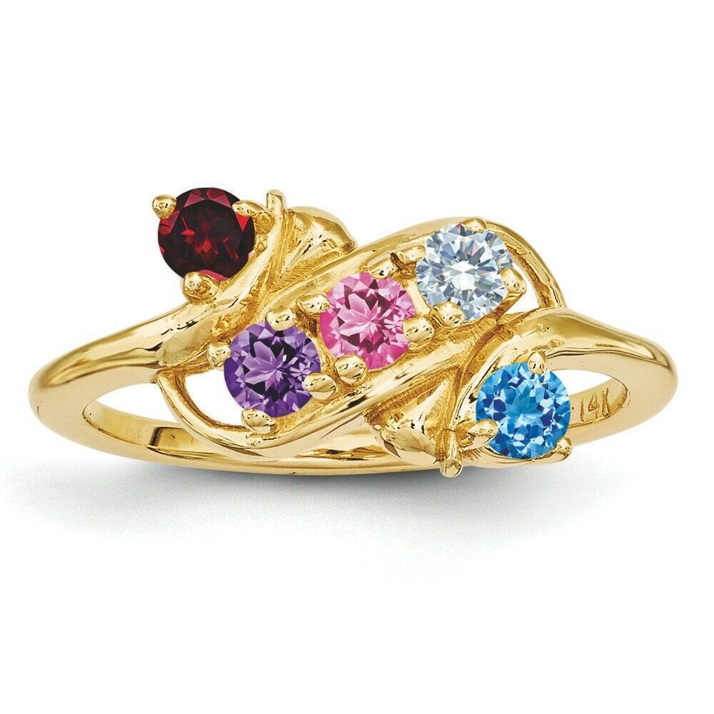 Mothers Birthstone Rings 14K Solid gold 1 to 5 Round Stones, Mother Day Rings