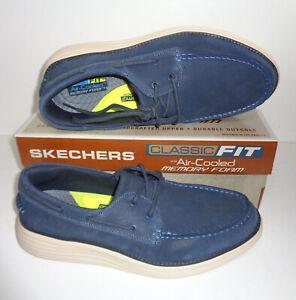 Beber agua espacio Excretar  Skechers Homme Mousse à Mémoire de forme bleu marine en cuir Véritable  Chaussures Bateau Rrp £ 77 Taille 9 & 9.5 | eBay