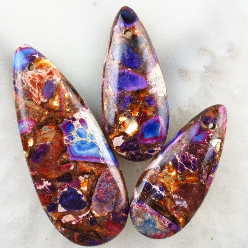 3pcs Purple Sea Sediment Jasper Gold Copper Bornite stone Teardrop Pendant Bead
