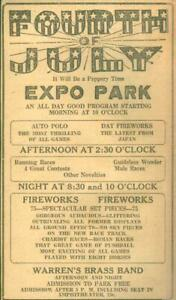Advertising-Newspaper-4th-of-July-Fireworks-Expo-Park-w-Band-Evansville-IN-1922