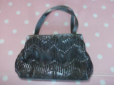 Tie Rack Ladies Silver Satin Beaded Sequin Detail Evening Bag