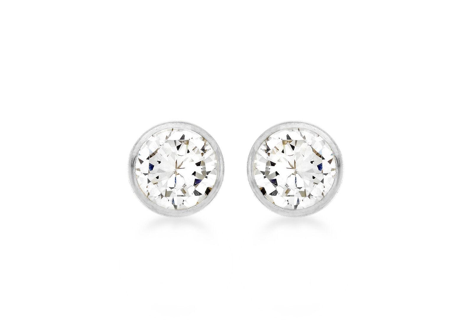 9ct White gold 5mm Round CZ Stud Earrings Inc Luxury Gift Box Jewellery